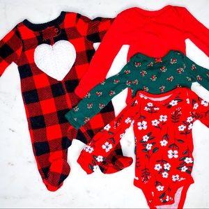 4 Piece Bundle of Carter's Newborn Girls Clothes